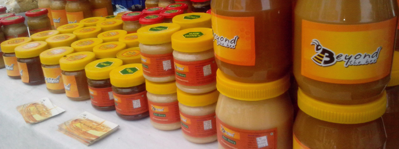 Raw Honey Display In Organic Farmers Market